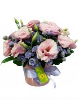Arranjo com lisianthus e háster lilás